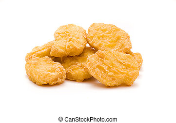chicken nuggets - heap of chicken nuggets isolated on white ...