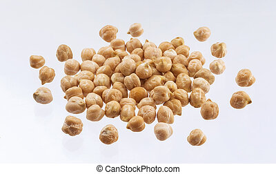 Heap of chickpea isolated on white background
