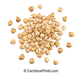 Heap of chickpeas isolated on white background, top view