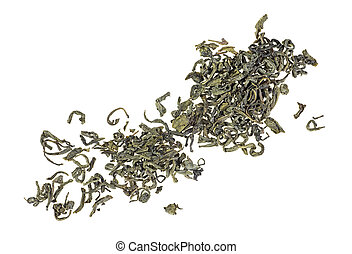 Heap of Chinese green tea on a white background