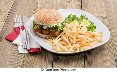 Heap of Chips with Fish Burger
