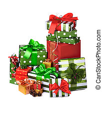 heap of Christmas presents decorated with satin bow