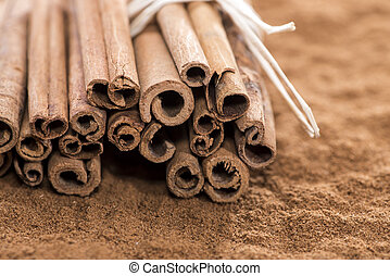Heap of Cinnamon - Heap of fresh Cinnamon (with sticks)