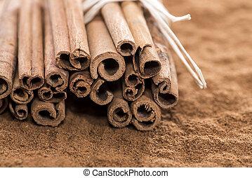 Heap of Cinnamon - Heap of fresh Cinnamon (with sticks)