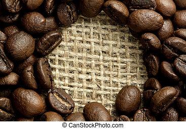 cofee beans on burlap