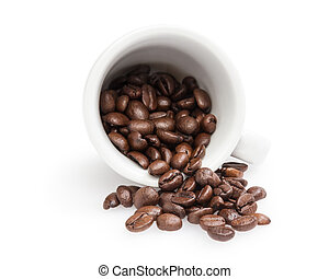 heap of coffee beans with cup