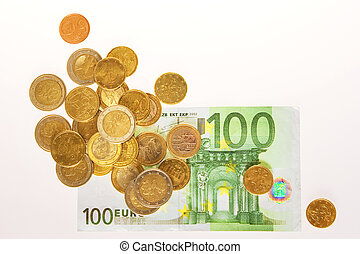 heap of coins close up
