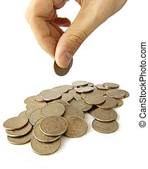 Heap of coins - Not very big heap of coins and hand holding...