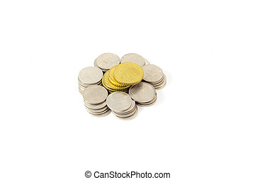 Heap of coins. On a white background.