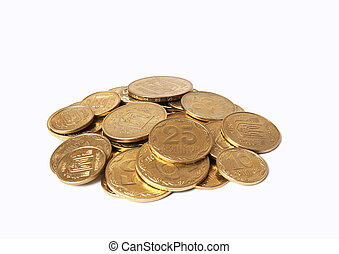 Heap of coins on white background