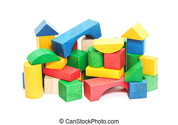 heap of color bricks