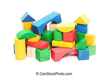 heap of color bricks