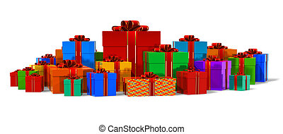 Heap of color gift boxes isolated on white background