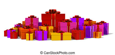 Heap of color gift boxes