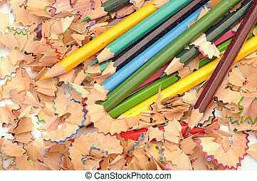 heap of color pencil shaves. Back to school concept.