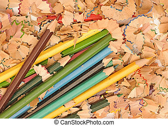 heap of color pencil shaves isolated on white background. Back to school concept.