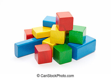 heap of color wooden bricks