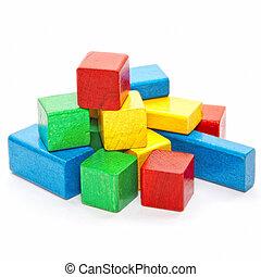 heap of color wooden bricks