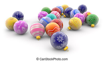 heap of colorful christmas baubles on white background