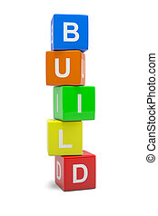 Build - Heap of Colorful Cubes with Text 3D Illustration...