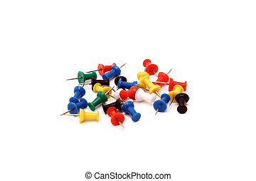 heap of colorful office pushpin