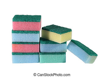 heap of coloured bath sponge