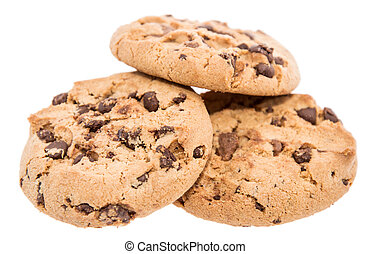 Heap of cookies on white