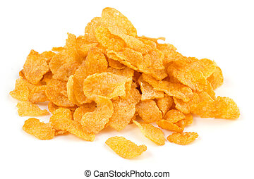 heap of corn flakes isolated on white background