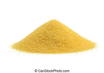 heap of cornmeal isolated on white background
