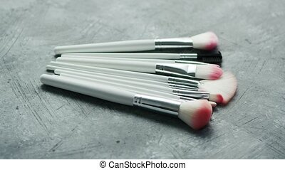 Heap of cosmetic modern brushes - Collection of modern white...