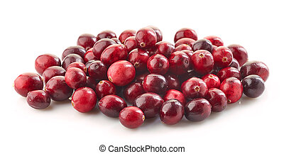 heap of cranberries isolated on white background