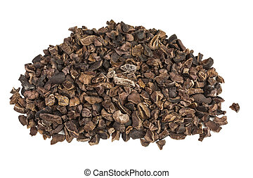 cocoa nibs - heap of crushed organic cocoa nibs
