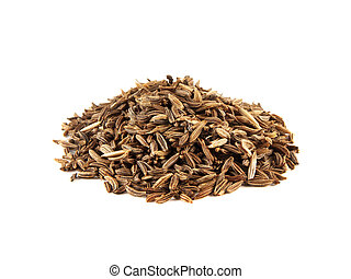 Heap of cumin seeds isolated on white background