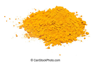 curry powder - heap of curry powder isolated on white...
