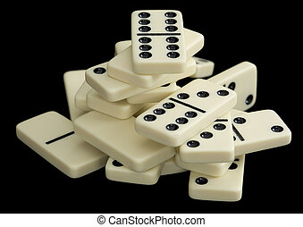 Heap of dominoes on a black background