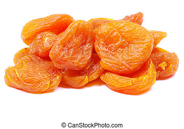 dried apricots  - heap of dried apricots over white
