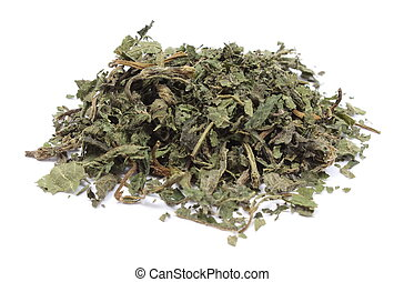 Heap of dried nettle on white background