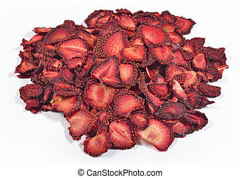 Heap of dried  strawberries on a white background
