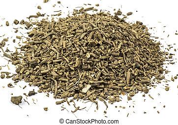 Heap of dried valerian - Dried valerian on white