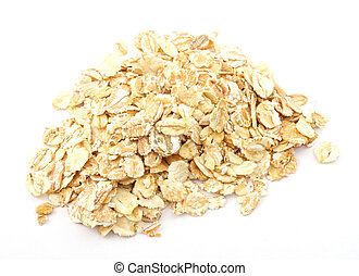 Heap of dry rolled oats isolated