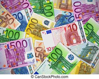 Heap of Euro banknotes
