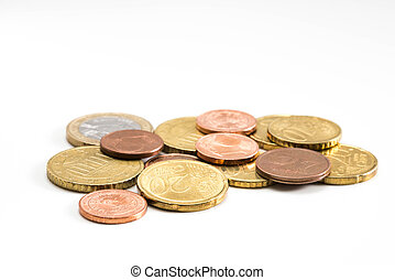 Heap of euro coins isolated on white background