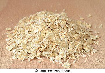 Heap of fine oat flakes