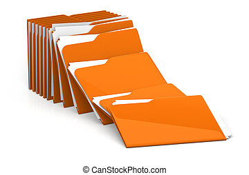 Heap of folders and files - isolated on white background 3d rendering