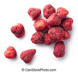 Heap of freeze dried strawberries isolated on white...