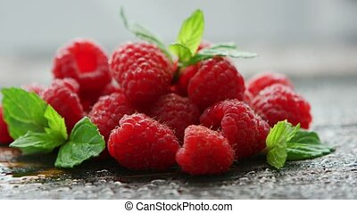 Heap of fresh raspberries - Closeup shot of composed pile of...