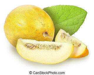 fresh yellow melon with green leaf