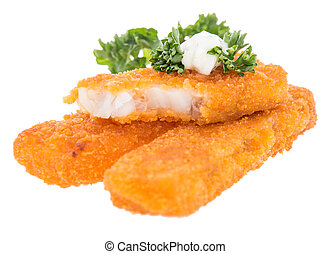 Heap of fried Fish with Remoulade and Parsley isolated on ...