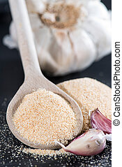 Heap of Garlic Spice (detailed close-up shot)