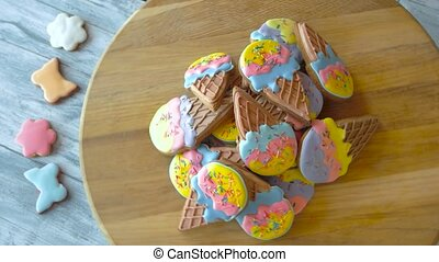 Heap of gingerbread cookies with icing. Pile of glazed...
